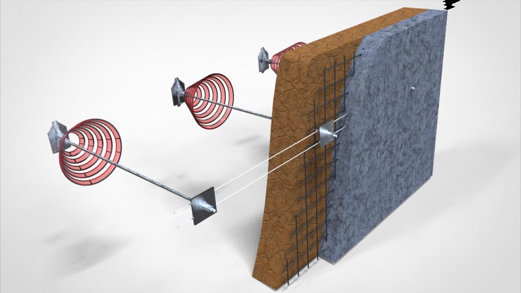 アースアンカー吹付モルタル擁壁補強