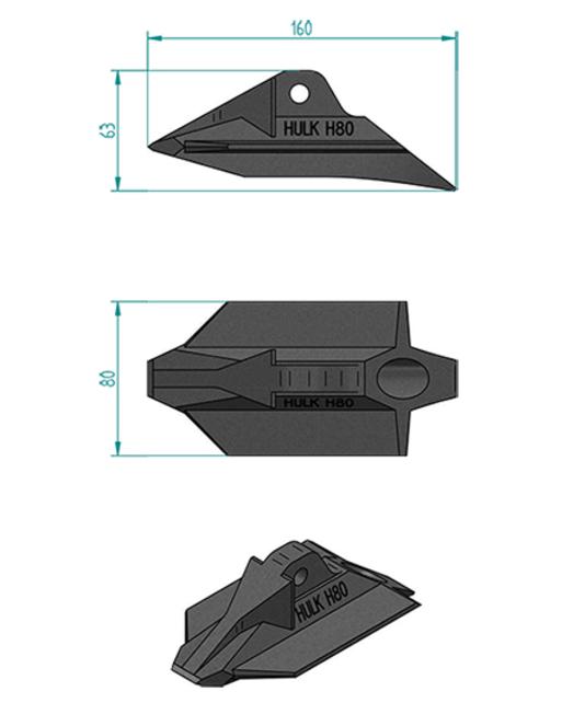ハルクアースアンカーH80寸法図