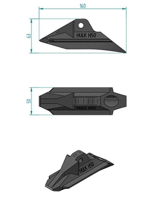 ハルクアースアンカーH50寸法図