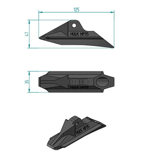 ハルクアースアンカーHP35の寸法図です。